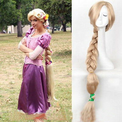 US! Halloween Princess Tangled Rapunzel Long Braid Blonde Cosplay Wig - Long Blonde Braided Wig