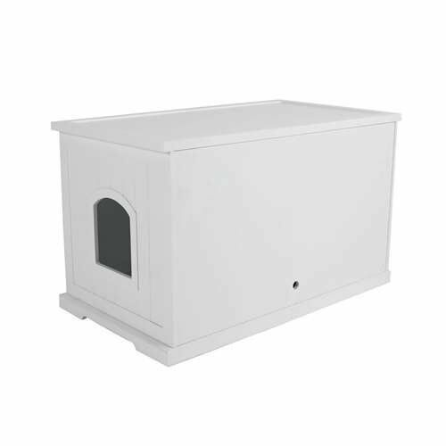 Merry Products Cat Washroom Bench w/ Enclosed Cat Litter Box, White (Open Box)