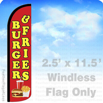 Burger Fries Windless Swooper Flag Feather Banner Sign 2.5x11.5 - Rz