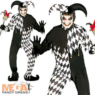 Evil Jester Joker Mens Fancy Dress Clown Adults Circus Halloween Costume Outfit