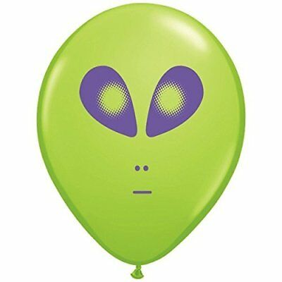 Space Alien Print Lime Green Latex Balloons 25 Count ()