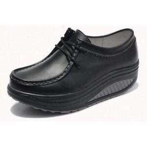 Women's black synthetic leather lace up rocker bottom sole shoe walking