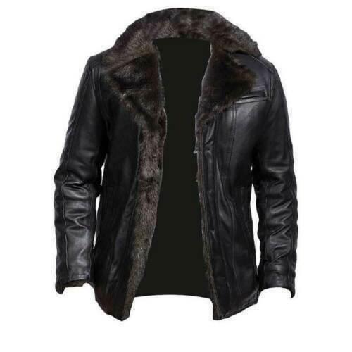 Black Shearling Leather Motorbike Aviator Fur Coaler Real Leather Men jacket