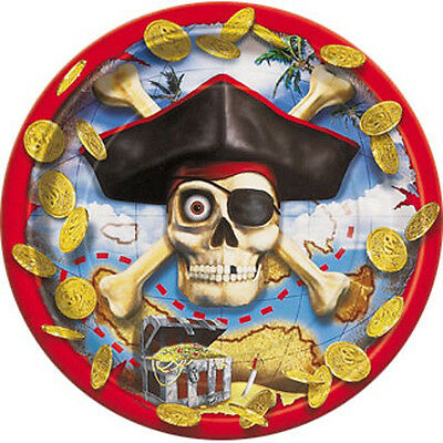 PIRATE BOUNTY LARGE PAPER PLATES (8) ~ Birthday Party Supplies Dinner Luncheon