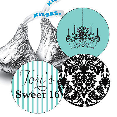 Damask Party Favors (Sweet Sixteen Hershey Kiss Stickers for Party Favors - Chandelier, Damask,)