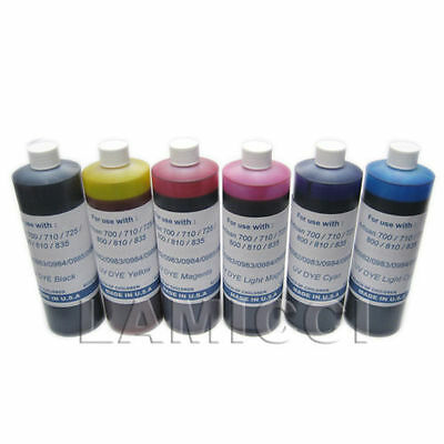 6 color x 1000cc Dye refill ink for CISS cartridge Epson 700 710 730 800 810 835, used for sale  Shipping to India