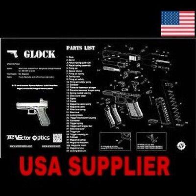 Gun Cleaning Mat Glock Gunsmiths Full Schematic, Parts List