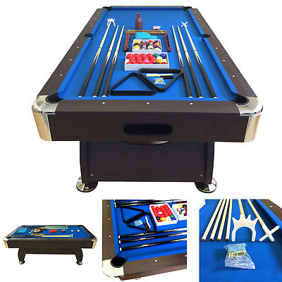 8 Feet Billiard Pool Table Snooker Full Set Accessories Game Vintage Blue 8Ft