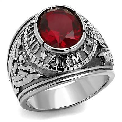 - Stainless Steel United States USA US Army Military Red CZ Silver Tone Ring