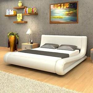 Luxo Kira Queen Size PU Leather Bed - White Seven Hills Blacktown Area Preview