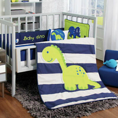 NEW Baby Green Blue Dino Dinosaur Boy Crib Bedding Nursery Set