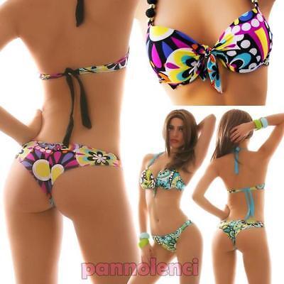 Bikini kostüm hochdrücken brasilianisch zwei teile mehrfarben moda meer frau