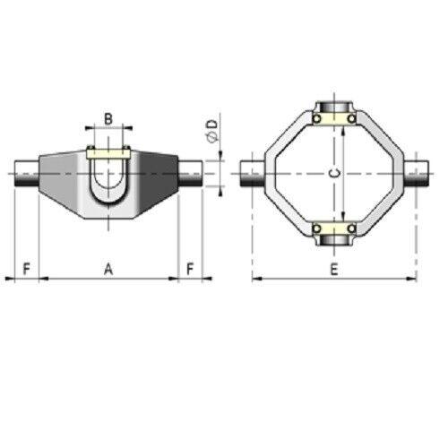 Kardannaufnahme passend Teleskopzylinder Hub = 390 /& 500 mm Kardanring