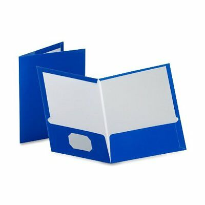 Oxford Laminated Twin Pocket Folders - Letter - 8.50 X 11 - 2 Pockets - Blue -
