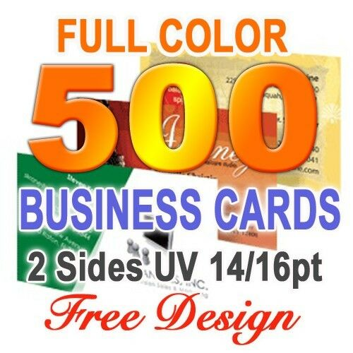500 Business Cards Uv 2 Sided & Free Custom Design .