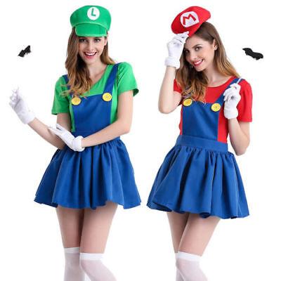 Women's Super Mario Luigi Bros Workmen Skirt Adult Costume Fancy Dress Halloween