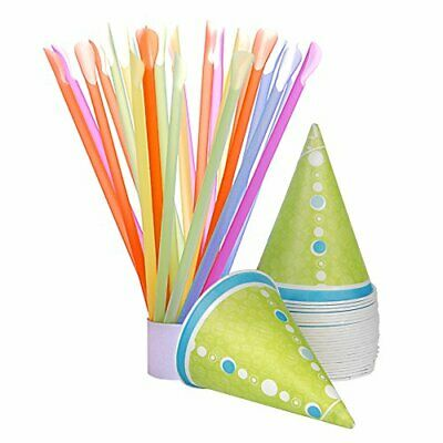 Hawaiian Shaved Ice 50-count Paper Snow Cone Cups And Spoon Straws Multi-color