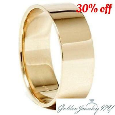 Mens Womens Solid 14K Yellow Gold Plain FLAT Wedding Band 2MM - 7MM size 4-13   14k Gold Mens Wedding Band 7mm