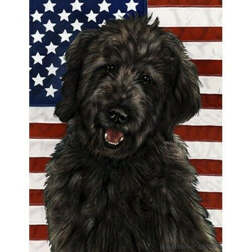 Patriotic (D2) Garden Flag - Black Goldendoodle  321991