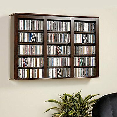 Espresso Media Storage Cabinet Wall Hanging Shelf Rack CD DVD Display Organizer  Wall Cd Storage Rack