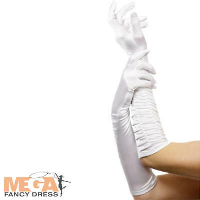 Long White Fancy Dress Gloves Ideal for Fairytale Burlesque Halloween Costumes (Halloween Costumes White Gloves)