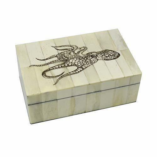 Octopus Scrimshaw Bone Box Antique Vintage Style Trinket Jewelry Nautical Animal