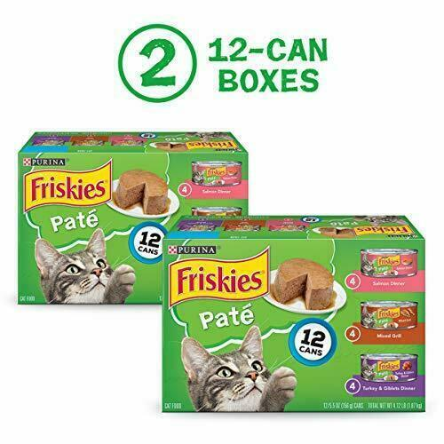 Friskies Pate Wet Cat Food Variety Pack, Salmon, Turkey & Grilled, 24 Cans