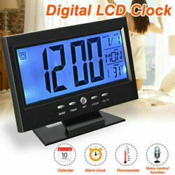 Sound Sensor LED Digital Alarm Clock Desk Table Watch BIG NUMBERS Large Digits