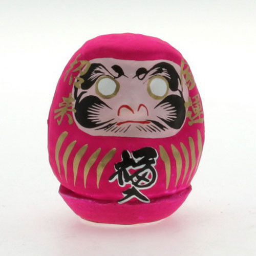 """Japanese 2-1/4"""" Pink Daruma Doll Papermache Good Luck LOVE Success Made in Japan"""