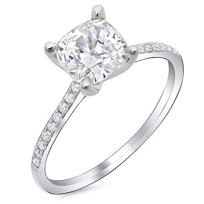 Fine 1.70 Ct Cushion Cut Solitaire Diamond Pave Engagement Ring H,VS1 GIA 18K