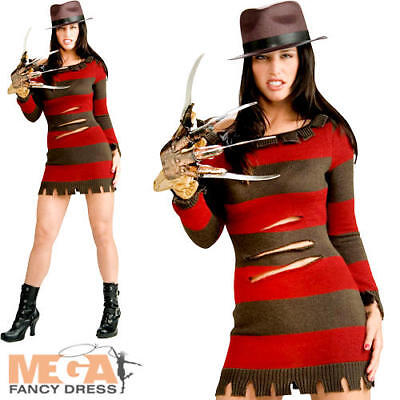 Miss Freddy Krueger Ladies Fancy Dress Adults Halloween Horror Movie Costume  (Horror Movie Fancy Dress Kostüme)
