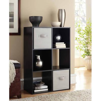 Storage Organizer 6 Cube Shelves Bookcase Bins Home Room Office Furniture Shelf
