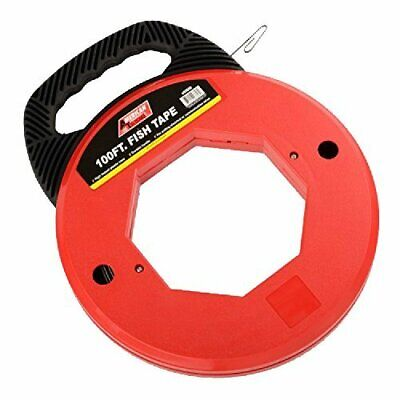 Premium 100 Ft Fish Tape Electrican Electric Reel Pull Wires Sturdy Cable...