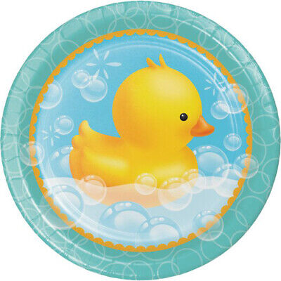 BABY SHOWER Bubble Bath LARGE PAPER PLATES (8) ~ Party Supplies Dinner Luncheon Baby Shower Paper Luncheon Plates