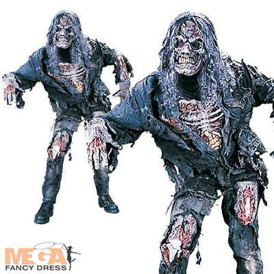 Complete Zombie + Mask Adults Halloween Fancy Dress Horror Costume Mens - Zombie Costume Adults