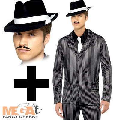 Gangster Suit + Hat Mens 1920s Fancy Dress Mafia Movie TV Adults 20s Costume New