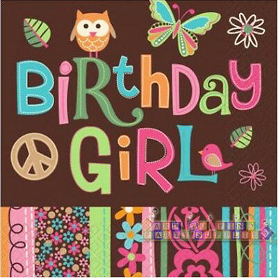 HIPPIE CHICK LUNCH NAPKINS (16) ~ Birthday Party Supplies Peace Owl Serviettes