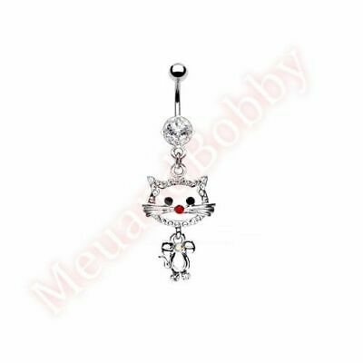 Cat Dangle Belly Button Ring - Gem Pussy Cat Belly Button Bar Navel Ring Dangle Body Piercing Jewellery