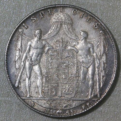 1854 Denmark Speciedaler Silver Coin