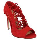Red Peep Toe Slim Heel Boots for Women