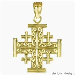 Gold jerusalem cross ebay new 14k gold jerusalem cross pendant aloadofball Images