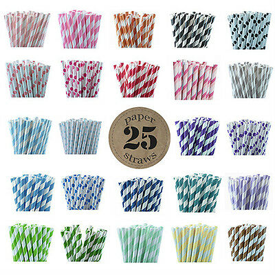 Vintage Party Paper Straws (25pcs) - Stripes and Polka Dots- Weddings- Birthdays (Stripes And Polka Dots)