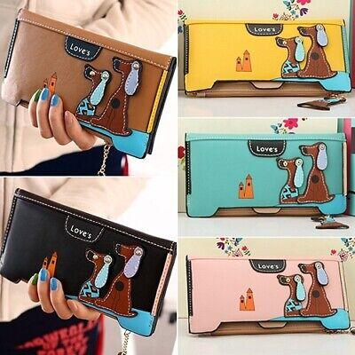 Cute Women Dog Pendent Clutch Leather Wallet Zip Hasp Purse Card Holder Handbag (Dog Card Holder)