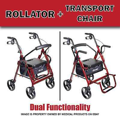 New Duet Transport Chair And Rollator All In One Medical Walker Wheelchair