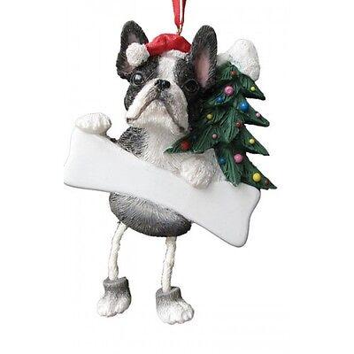 Boston Terrier Dog Ornament - Boston Terrier Dangling Wobbly Leg Dog Bone Christmas Ornament
