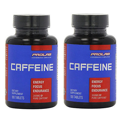 PROLAB CAFFEINE 200mg*200 TABLETS* NEW-SEALED-AUTHENTIC     FREE SHIPPING (Caffeine Free)