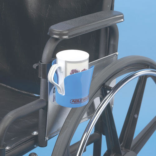 """Ableware Wheelchair Cup Holder, Fits 7/8"""" to 1"""" Diameter Tub"""