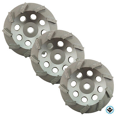 3 Pack - 5 Diamond Grinding Cup Wheel Turbo Swirl 9 Segs - 58-11 Threaded