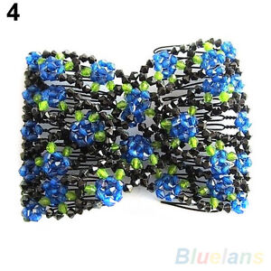 Latest Fashion Stretch Rose Flower Bow Bead Hair Comb Cuff Double Insert Clips