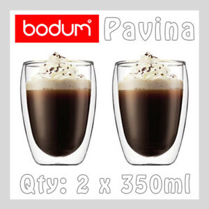 BODUM PAVINA Double Wall Insulated Thermo Glass Coffee Latte Tea Cups 2 x 350ml